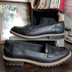 Clarks Griffin Milly Loafers Black Leather sz 8.5